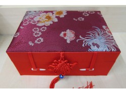 Red Brocade Oriental Jewellery Box