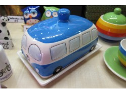 Blue Campervan Butter Dish