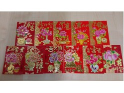 Packet of 6 Lucky Red Envelopes - Floral