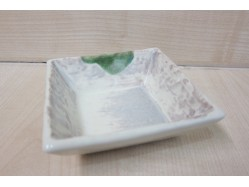 Japanese Square Dish - Cream with Green Spot