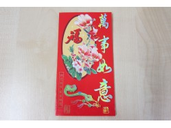 Packet of 6 Long Chinese Lucky Red Envelopes - Flowers & Red Bird