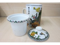 Peacocks in Garden Mug with Tea Strainer and Lid