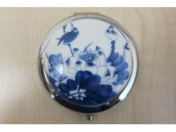 Blue & White Bird and Flowers Porcelain Compact Mirror