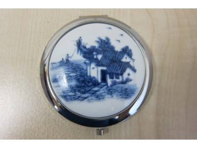 Blue & White House Porcelain Compact Mirror