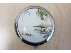 River Scene Porcelain Compact Mirror