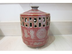 Large Red Good Fortune Candle Holder
