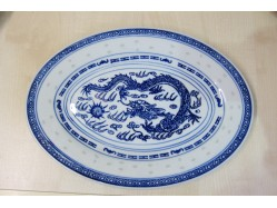 Chinese Rice Pattern Oval Plate