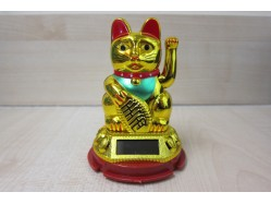 Small Gold Solar Powered Lucky Waving Cat